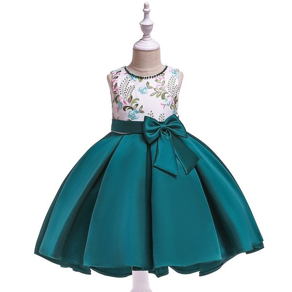 New Nail-beaded Embroidered Girls Dresses Twill Satin Princess Swallow-tail Children Boutique Show Peng Butterfly Skirt