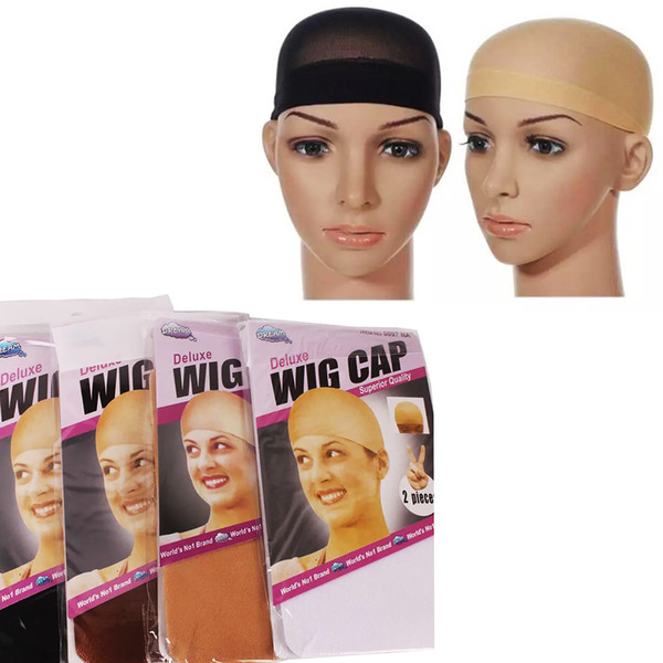 top popular 100pcs Unisex Sock type Nylon Mesh Bald Wig Hair Cap Stocking Liner Snood Mesh Stretch Nude Beige Black Brown Net Cap DHL 2020