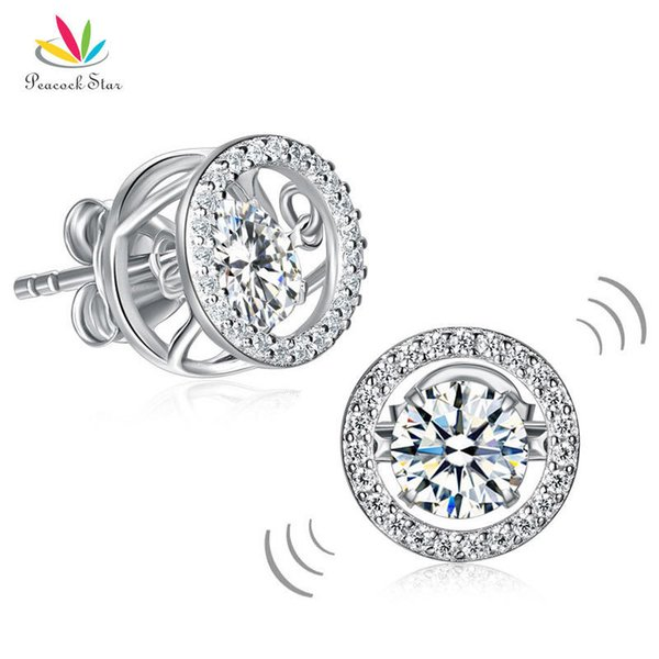 Peacock Star Special Unique Design Dancing Stone Stud Earrings Solid 925 Sterling Silver Cfe8129 T7190617