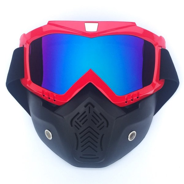 Motorcycle Glasses Motocross Motorbike Moto Goggles Detachable Goggle UV Protection Ski Bike for Open Face Helmet Mask