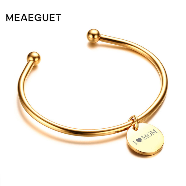 Laser Engrave Charm ID Personalized Name Women Customized Gift name bangle bracelet