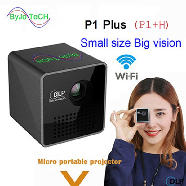 best selling ByJoTeCH P1+H 40Ansi Lumens Wireless Mobile Projector Support Miracast DLNA Pocket Home Movie Projector Proyector Beamer Battery