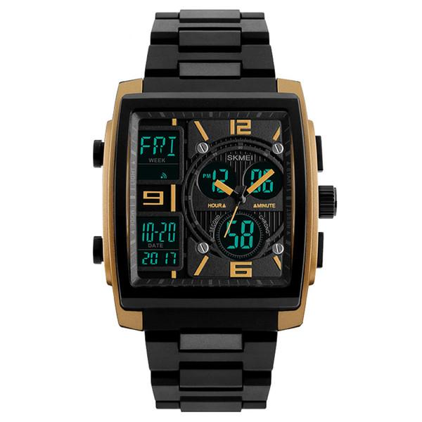 Mens Military 2018 Fashion LED Quartz Clock 50M Waterproof Dual Display Men's Square Wristwatch Digital Sport Watch & Box C19010301