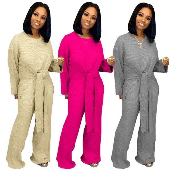 Kadınlar casual 2 parça set gevşek bandaj eşofman spor giyim t-shirt pantolon eşofman geniş bacak hoodies bodysuits güz kış giyim 1429