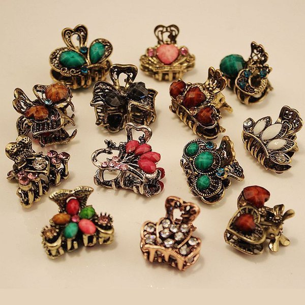 Random Color! 1PC Women Retro Resin Hairpins Mini Butterfly Crown Claws Clips Wedding Bridal Hair Styling Tool Accessories C19010501