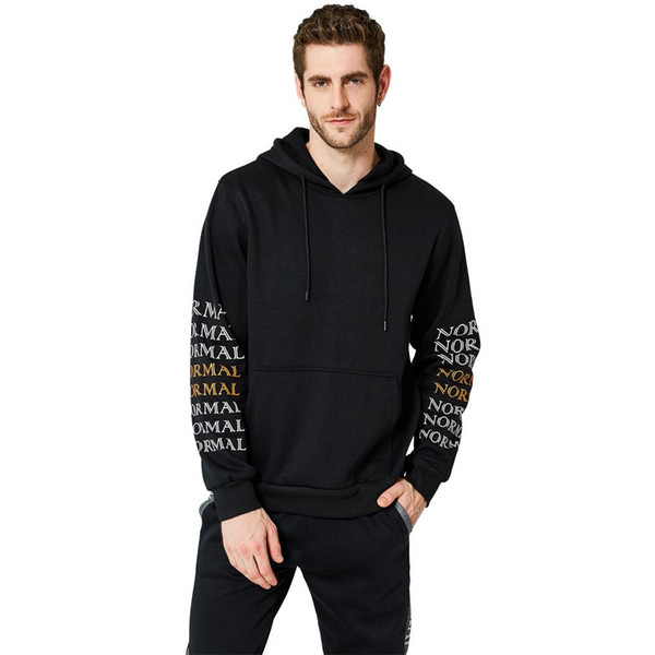 2018 New Hoodies Men Casual Long Sleeve Loose Hooded Sweatshirts Male Autumn Fleece Hip Hop Pullover Solid Letter Printing Men