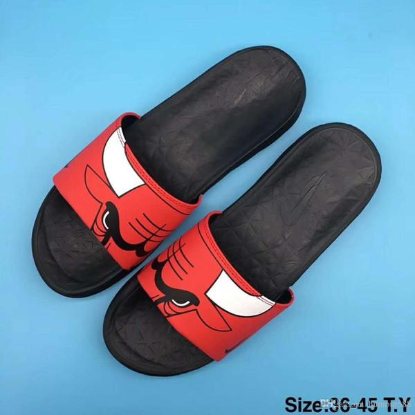Nike Slippers designer slippers Marka Moda Yastik Yaz Plaj Sokak Rahat Açik Kapalı Erkekler Siyah Beyaz Kırmızı Gri Terlik Sandale Mit Box