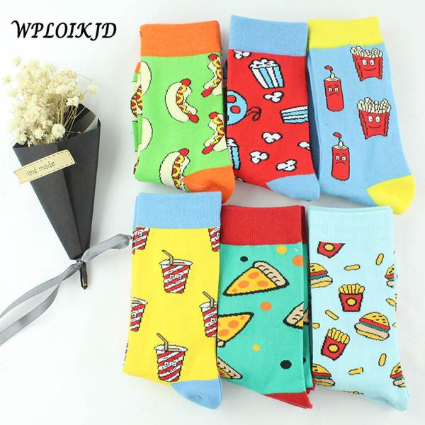 [WPLOIKJD] Kreative Hipster Harajuku Lustige Socken Frauen Nette Pizza Avocado Muster Skarpetki Socken Cartoon Obst Calcetines Mujer
