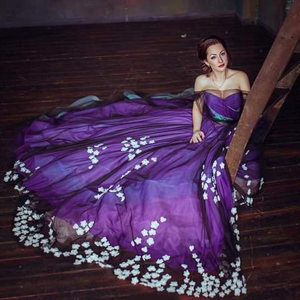 Stylish Purple Plus Size Prom Dresses Floral Applique Sheer Bateau Neck  Evening Gowns A Line Sweep Train Tulle Formal Dress Plus Size Resort Wear  Plus ...