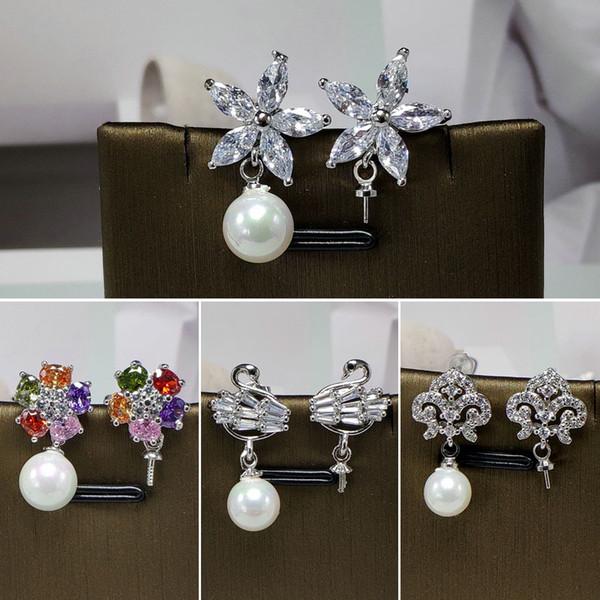 top popular Shiny !Earrings Setting 925 Silver Earrings Setting Pearl Stud Earrings Mounting Earring Blank Fashion Jewelry DIY Gift 2019