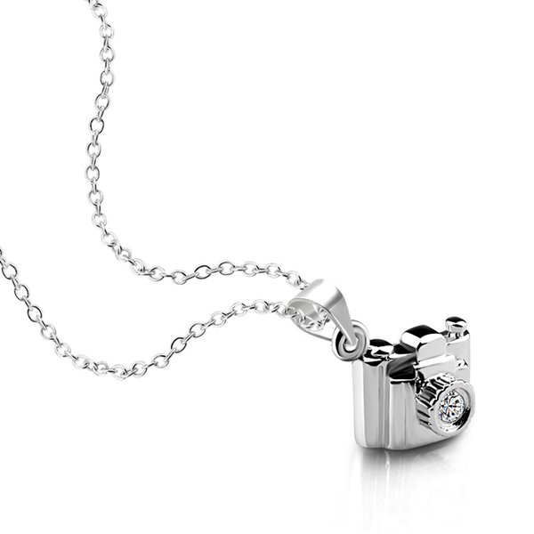 Record wonderful moments creative camera pendant Chocker 100% 925 sterling silver necklace fashion Woman jewelry gift Wholesale