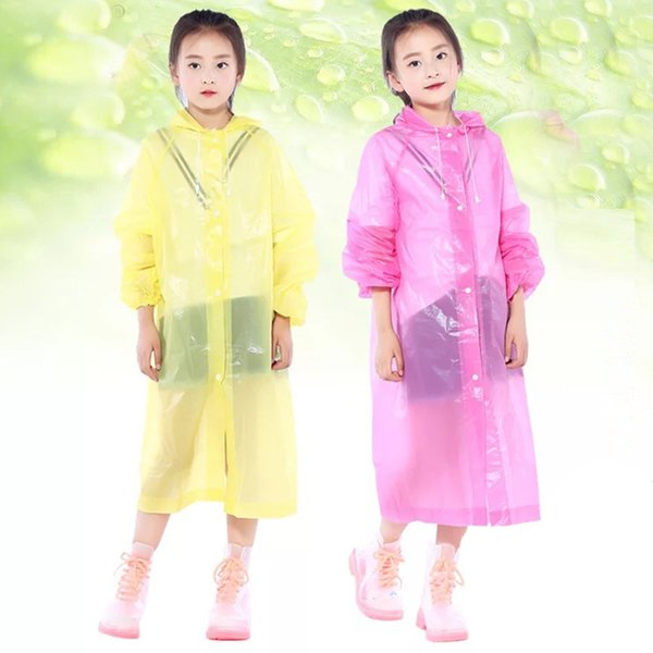 Transparent Kids Hooded Raincoat for Children Plastic Rain Coat Cover Waterproof Poncho Rainwear Camping impermeable