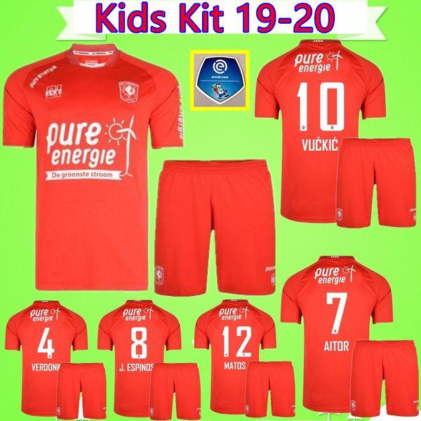 Kit enfants maillots de football Twente Enschede 2019 2020 BOERE VUCKIC MATOS ABURJANIA Verdonk 19 20 costume enfants maillot maillot