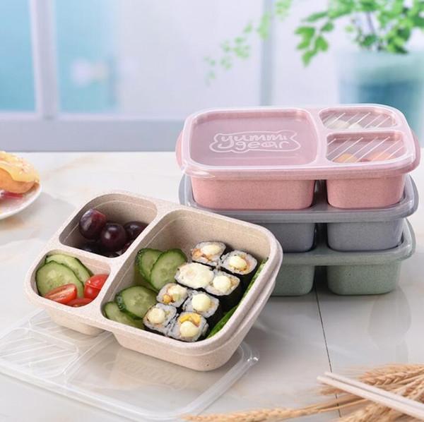 3 Grille de paille de blé Boîte à lunch Bento Boîtes à micro-ondes naturel étudiants fruits alimentation portable Boîte de rangement Accessoires de cuisine GGA2845