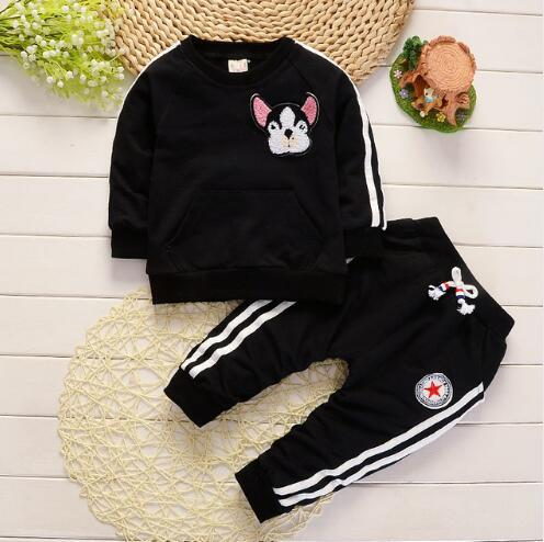 2019 new Spring Autumn Children Boys Girls Clothing Suits Fashion Baby Embroidery Cartoon Dog T-shirt Pants 2Pcs/sets Toddler Tracksuit