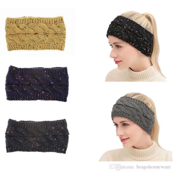 Inverno malha Headband das Mulheres alça colorida fêmea com Dot Flower Hairband elástica respirável Inverno Quente Ear Protector BH0816 T