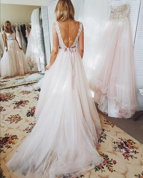 Robes de mariée plage une ligne dos ouvert appliques de dentelle robe de mariée bohème balayage train robes de mariée robe De Mariee DA019