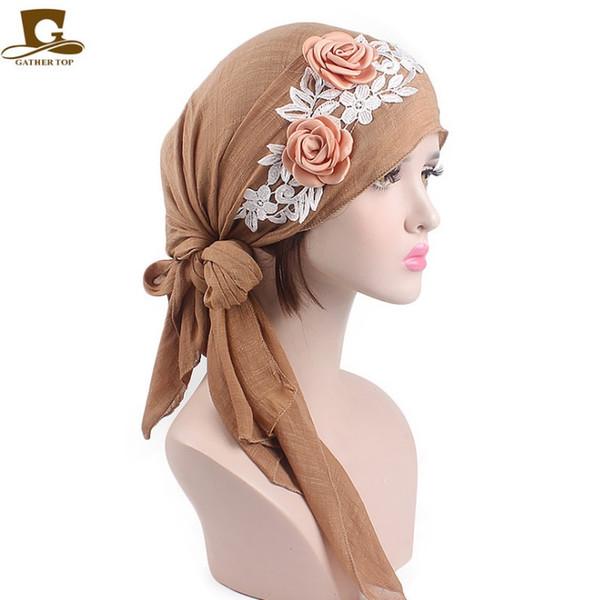 Automne et fils dames vent pastoral coton hiver bandeau chapeau écharpe fleur en trois dimensions chapeau de chimiothérapie couvre-chef