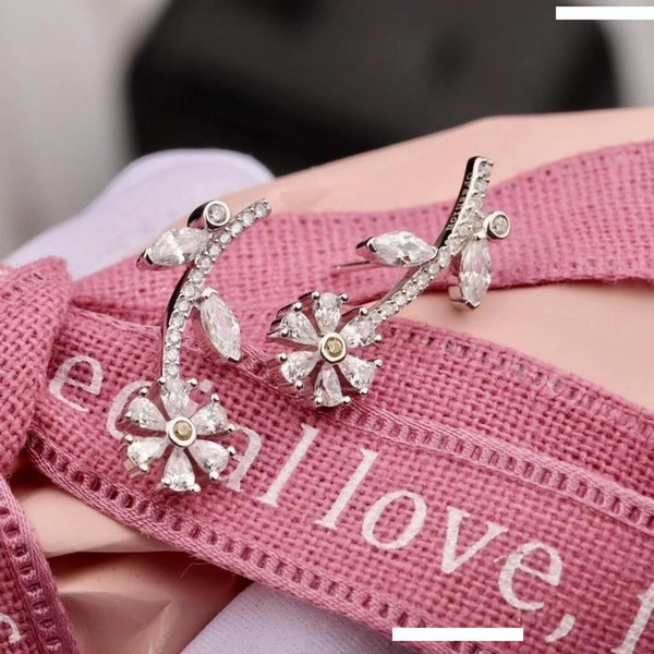 luxuries designers jewelry women Earrings Jewelry Women New Fashion Crystal 18K Gold Plated Cross Ear cz studs silver 925
