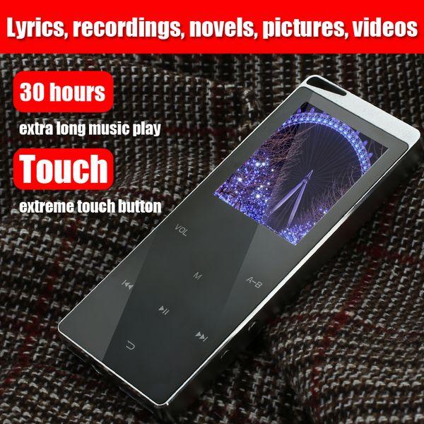 Lujo 4GB Metal Reproductor MP4 Reproductor Bluetooth Portátil Delgado MP3 MP4 Medios 2.4 Pulgadas Teclado táctil Radio FM Tarjeta TF Reproductor de música compatible Regalo