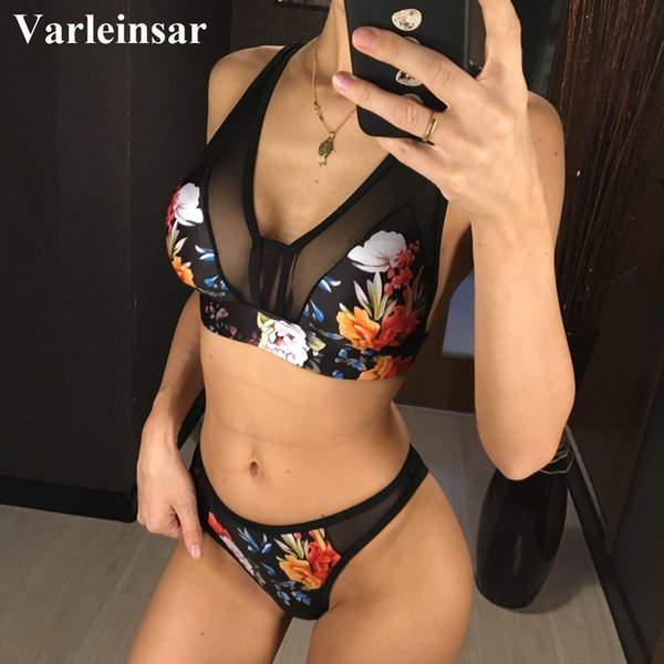 floral bikini 2019 women swimwear female swimsuit two-pieces bikini set bather padded bathing suit swim wear lady v1115