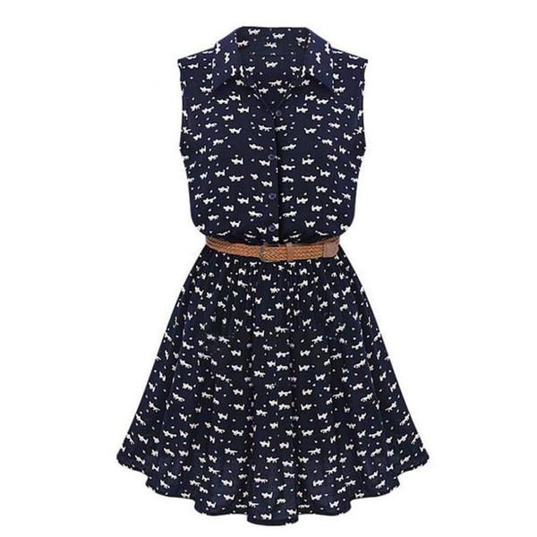 2019 New Design Summer New Women Shirts Dress Cat Footprints Pattern Show Thin Shirt Dress Casual Dresses with Belt