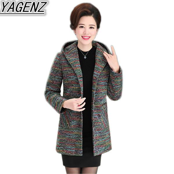 Large size Mother Clothing Wool Jacket Coat Middle aged Women's Spring Autumn Fashion Wool Coat Female Casual Hooded
