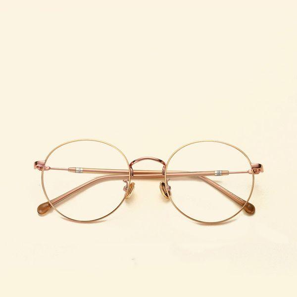 Retro literary round flat mirror Stylish thin metal frame round frame glasses wholesale