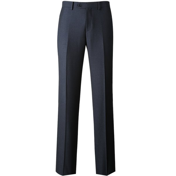 2019 New High Quality Men's Zipper Fly Wrinkle-resistant Suit Pants Formal Business Meeting Suit Pants Navy Blue for Men