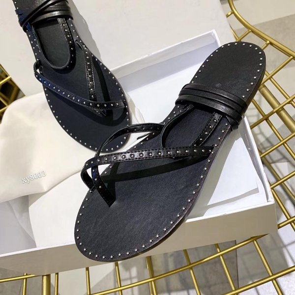 2019 Women's shoes, new style high quality summer rivet binding sandals, stylish and elegant comfortable flat flip-flops