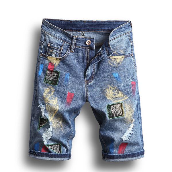 Verão Novos Homens Da Moda Shorts de Designer com Buraco Azul Casual Solto Hip Hop Streetwear Homens Shorts