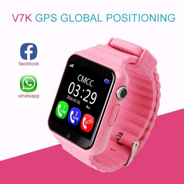 V7K Montre GPS intelligente pour enfants avec smartwatch pour enfants Montres de moniteur anti-perdues sécurisées avec appareil photo SOS Call Location Device Tracker
