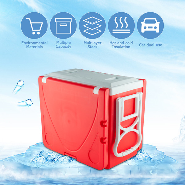 Outdoor Picnic Foldable Multi-function Rolling Cooler Upgraded Stool Red