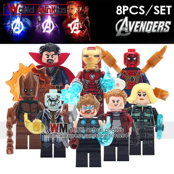 10LOTS OF Marvel Avengers Infinity War Super Heroes Iron Man Star-Lord Thor Black Widow Building Blocks Action Figure Kids Toy