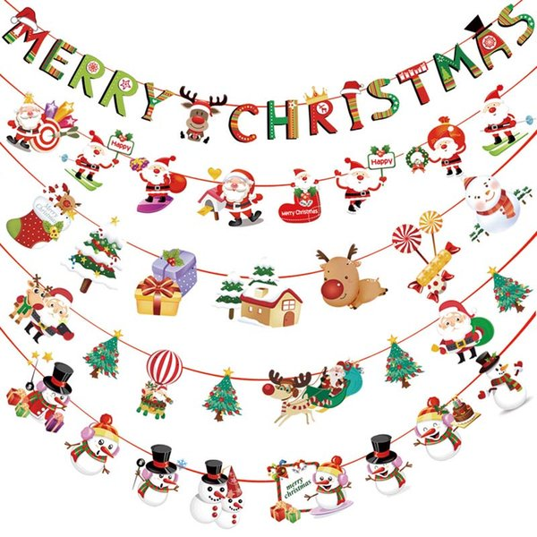Xmas Início Multi Estilo Enfeites de Natal Pendurado Bandeira Decorações Bandeiras Fontes Do Partido Pano De Fundo Papai Noel Elk Guirlandas de Natal