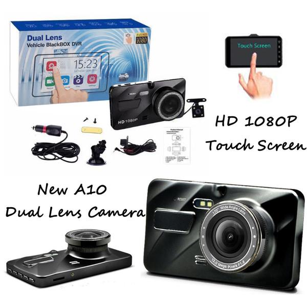 A10 Dual Lens Kamera HD Touchscreen Auto Fahrzeug Black Box DVR Loop Recorder 4 Zoll 170 Grad Camcorder