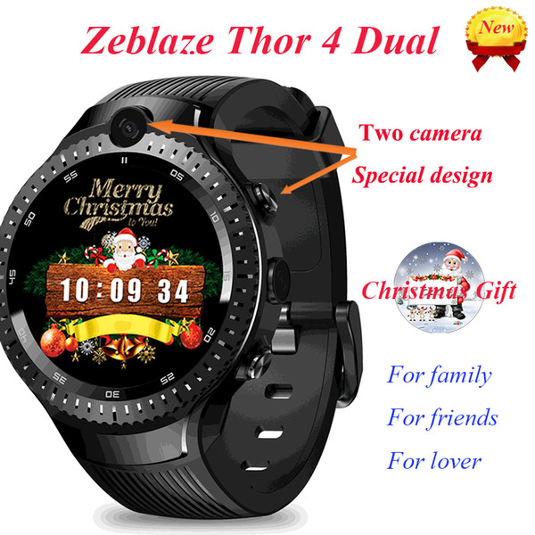 Zeblaze Thor 4 Dual Smart Watch Men Heart Rate Smartwatch Double HD Camera 4G Wristwatch Support GPS WIFI Luxury Christmas Gifts