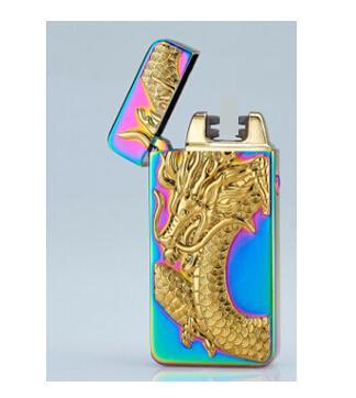 Double Arc Pulse Cigarette Lighter USB Charging Tobacco Lighters Dragon Eagle Tiger Design Pattern Metal Electronic Smoking Lighters