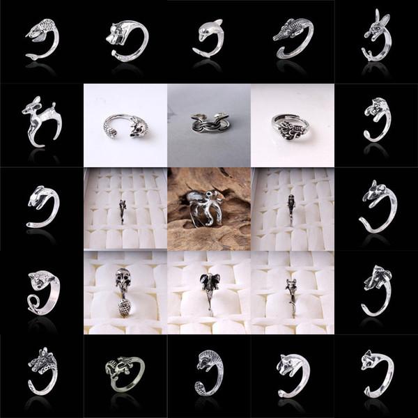 Nueva manera simple linda dedo aleación de plata anillo animal regalo ajustable