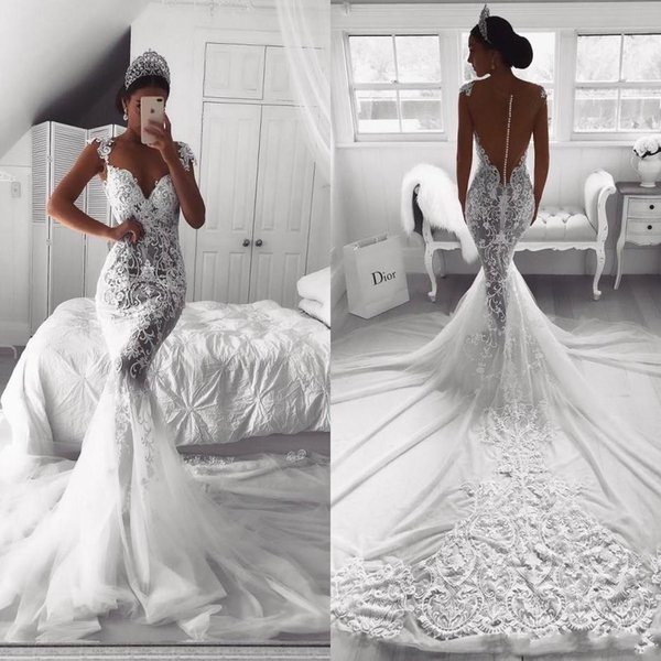2020 New Luxury African Mermaid Wedding Dresses Illusion Lace Appliques Beaded Sheer Button Back Court Train Plus Size Formal Bridal Gowns
