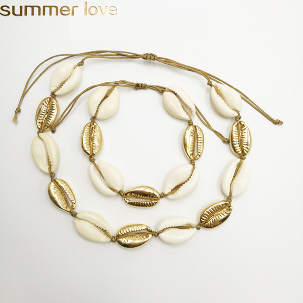 best selling Natural Shell Beads Rope Bracelet Necklace Set Fashion Jewelry For Women Handmade Zinc Alloy Shell Braid Bracelets Necklaces Best Gifts