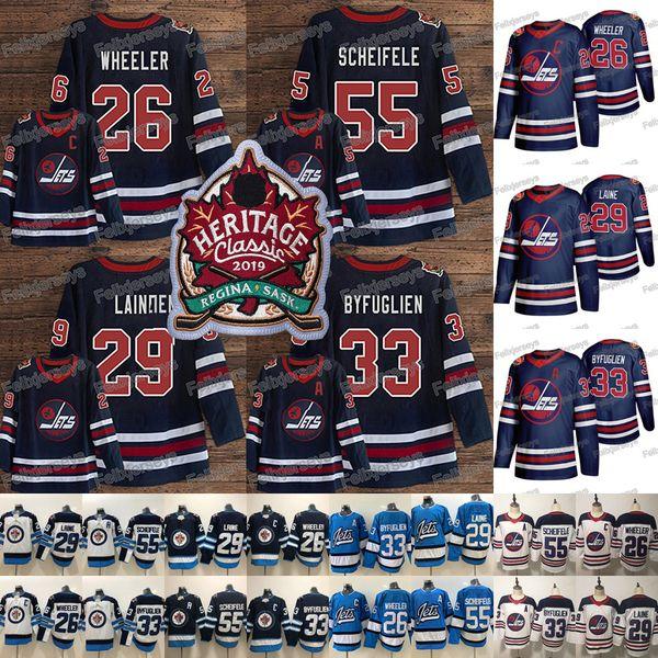 2019 Heritage Classic Hockey 29 Patrik Laine Jersey Jets Jerseys Mark Scheifele 26 Blake Wheeler Dustin Byfuglien 2019 Winnipeg Jets Jerseys