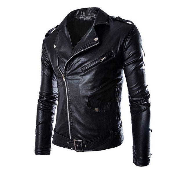 MoneRffi Fashion Men PU Leather Biker Jacket Autumn Motorcycle Overcoats Casaco Masculino Clothes Casual Zipper Coats wholesale