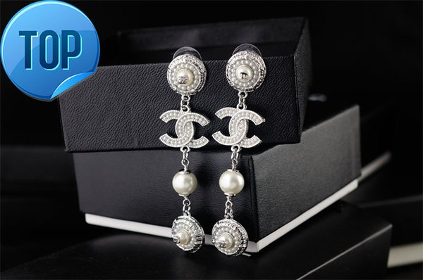 Women clear Crystal pearl Punk bracelet earrings Jewelry With Box