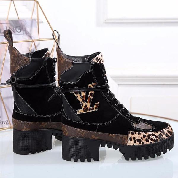 Moda luxoSapatos LV da forma das mulheres Botas respirável Sapatos Moda Feminino Calçados com Shoes Box Original Bottes Femmes das mulheres Leat