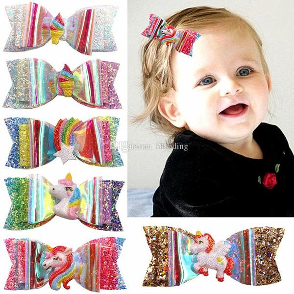 Children Sequin rainbow unicorn Hairpin baby girls Hair Accessories cartoon Boutique kids Bow Barrettes 16 colors headdress C6901