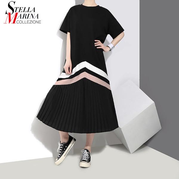 Neue 2019 sommer frauen schwarz blau lange plissee dress gestreiften kurzarm plus größe dame cute casual dress robe femme stil 3412 j190621