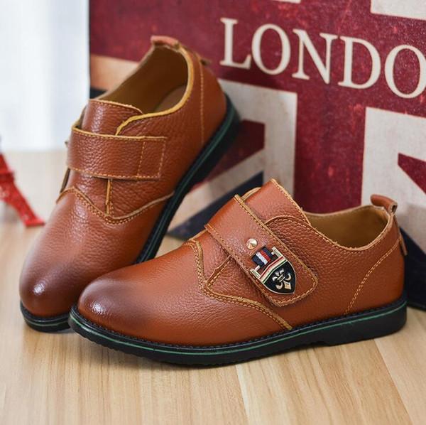 Moda Sonbahar Çocuk hakiki deri erkek ayakkabı Parti Erkek Ayakkabı Flats Siyah Sarı Kahverengi Çocuklar Için Rahat Loafer'lar Boys