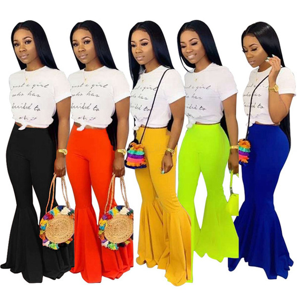 top popular Women Solid bootcut Pants summer candy color fashion sexy skinny full length Elastic Waist casual bell bottoms LJJA2582 2019