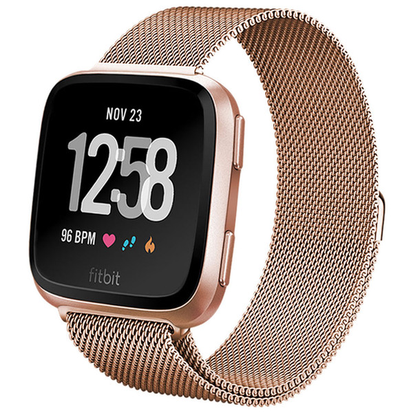Replacement Bands for Fitbit Versa Smart Watch Band Women Men Large, Stainless Steel Metal Sport Bracelet Strap Magnet Lock Wristbands